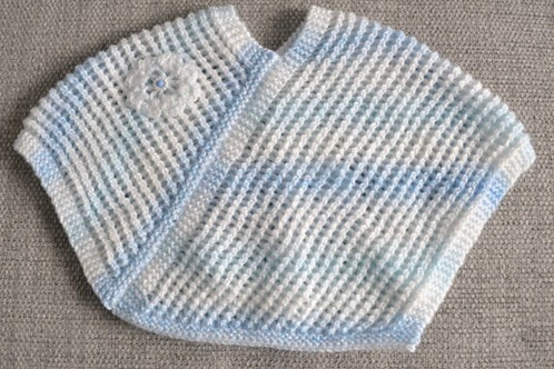 Baby Girls Blue & White Hand Knitted Poncho 3-6 Months