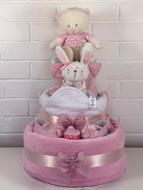 Bryony Teddy Three Tier Baby Girl Nappy Cake