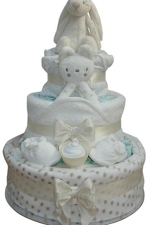 Bashful Bunny Three Tier Neutral Nappy Cake