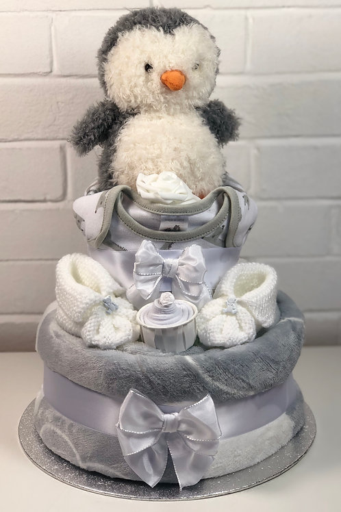 Puffy Penguin Neutral Two Tier Fluffy Nappy Cake