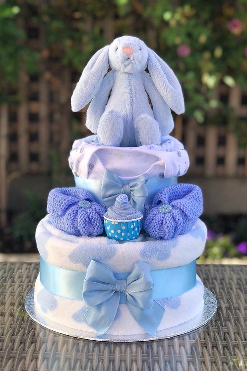 Bashful Bunny Baby Boy Two Tier Nappy Cake