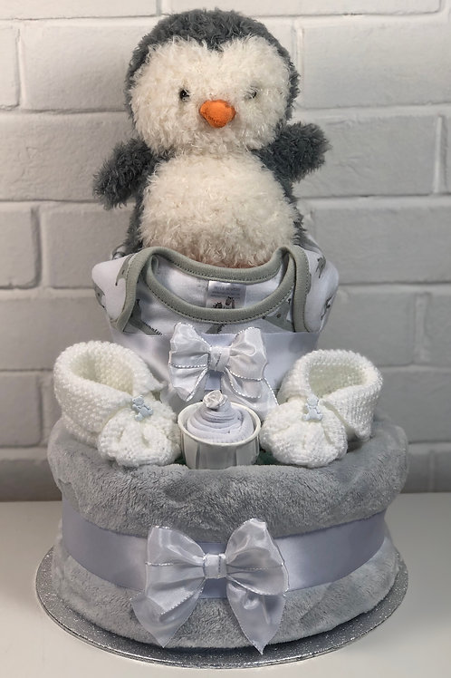 Puffy penguin Neutral Fluffy Two Tier Nappy Cake