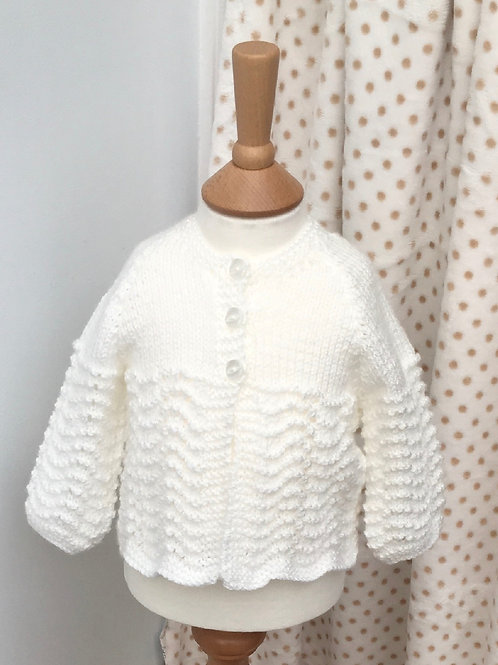 Baby Girls White Hand Knitted Matinee Cardigan 0-6 Months