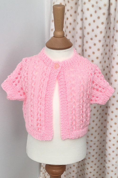 Baby Girls Pink Hand Knitted Cardigan 3-6 Months