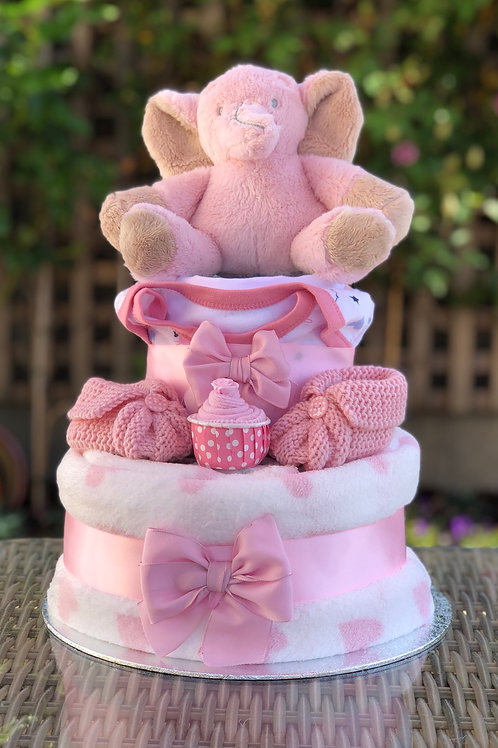 Ella Elephant Baby Girl Deluxe Two Tier Nappy Cake