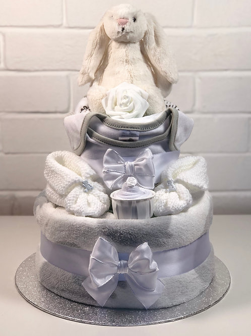 Bashful Bunny Neutral Two Tier Deluxe Nappy Cake