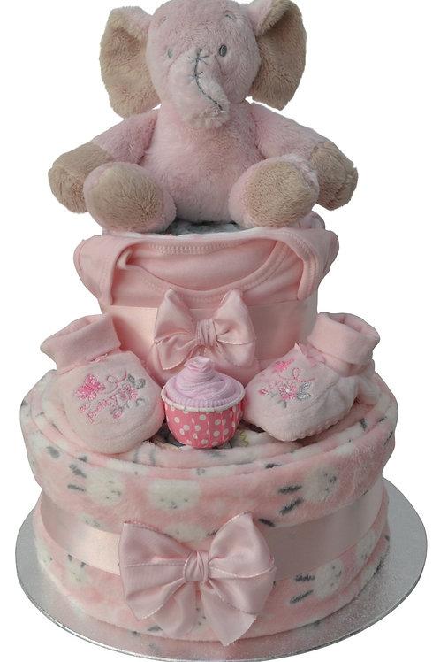 Ella Elephant Baby Girl Two Tier Nappy Cake