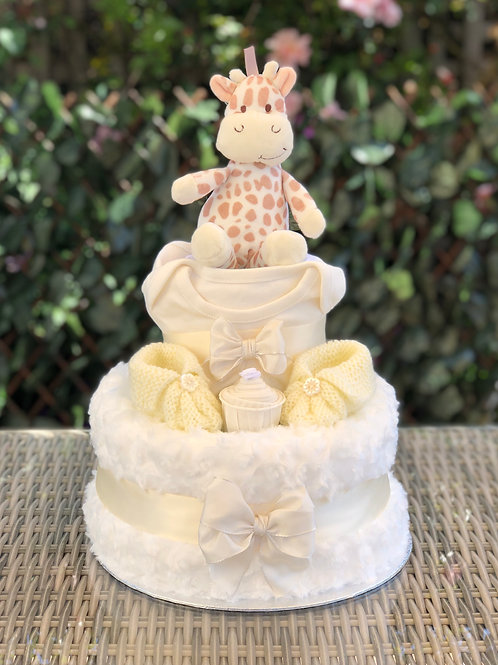 Georgie Giraffe Neutral Two Tier Cream Nappy Cake
