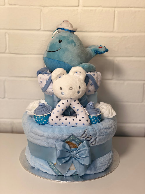 Wali Whale Deluxe Baby Boy Two Tier Nappy Cake