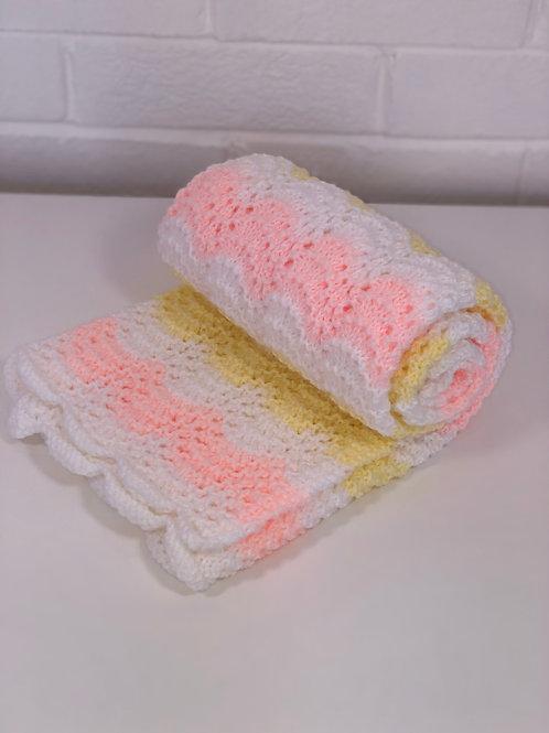Baby Pram Blanket in Lemon & Peach