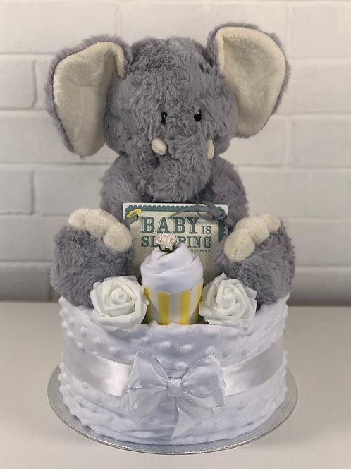 Elle Elephant Neutral One Tier Nappy Cake