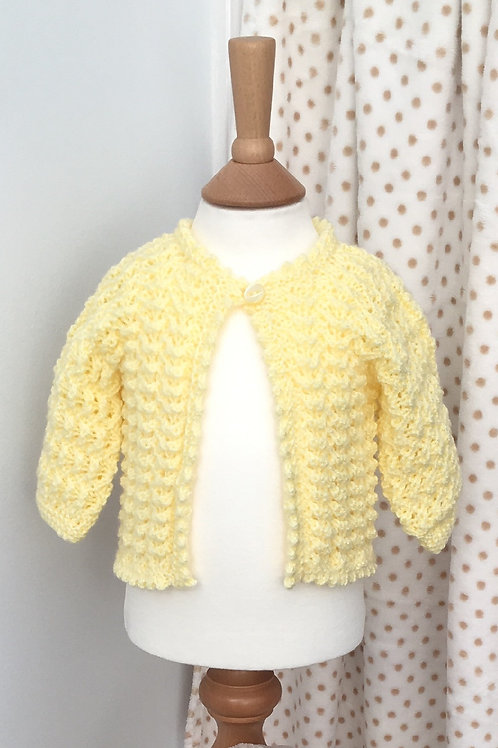 Baby Girls Yellow Hand Knitted Cardigan 3-6 Months