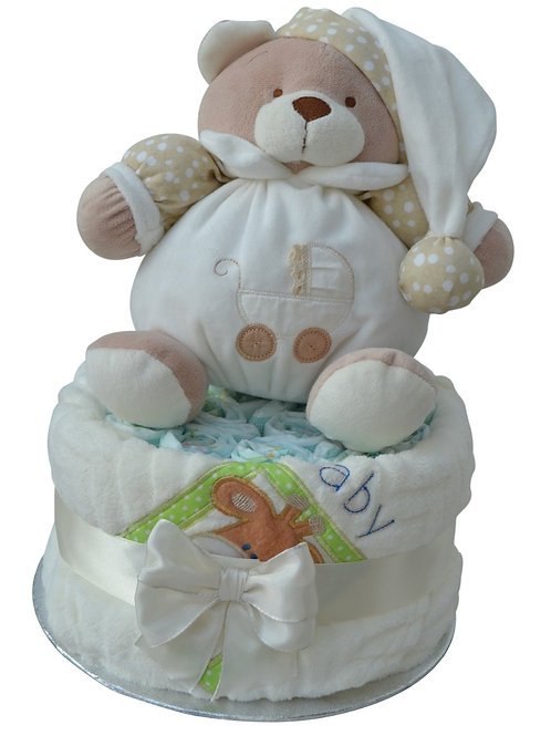 Puffle Bear Neutral One Tier Nappy Cake
