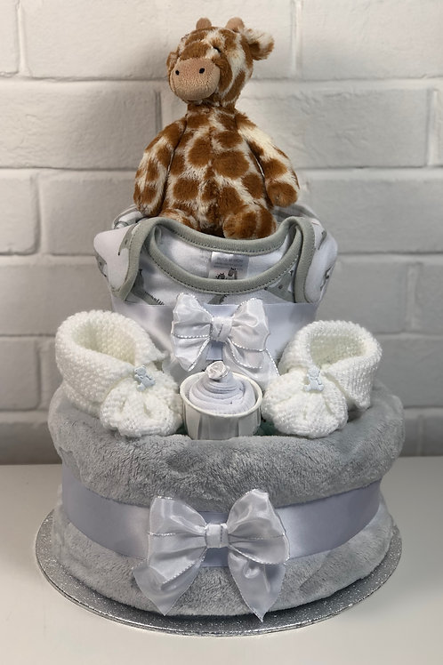 Jerry Giraffe Neutral Two Tier Nappy Cake