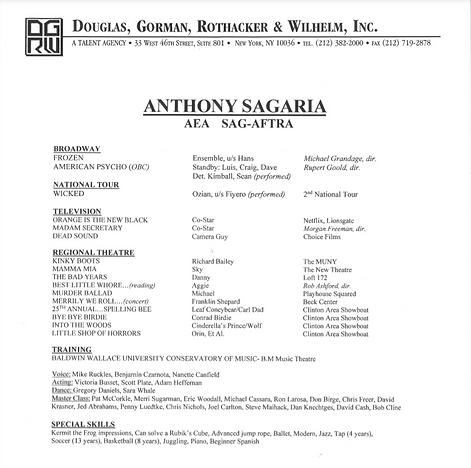 Anthony Sagaria resume