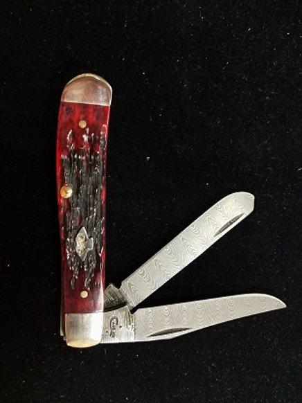 Crimson Bone Damascus Mini Trapper