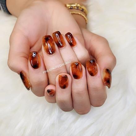 Amber nail art #nailart #japanesegelnail