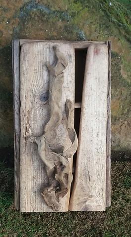 Rustic natural wood hanging cupboard