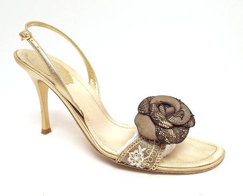 RENE CAOVILLA Gold / Black Lace Slingback Heel 9 /39.5