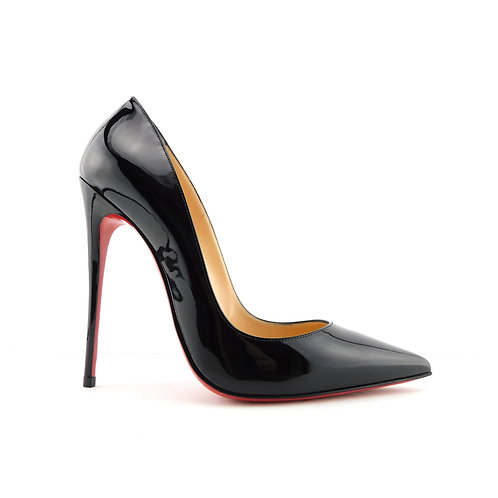 CHRISTIAN LOUBOUTIN Size 7.5 SO KATE Black Patent Heels Pumps Shoes 38 Eur