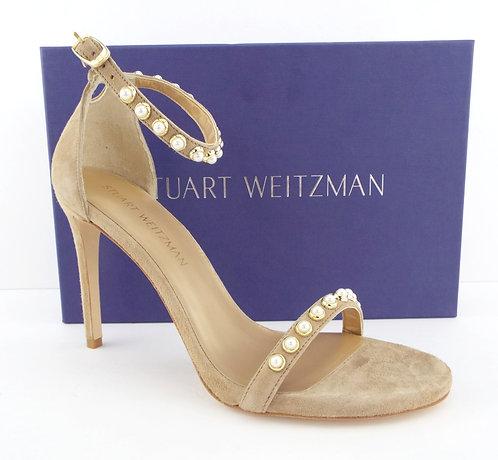 STUART WEITZMAN Nude Suede Sandals Heels 8.5