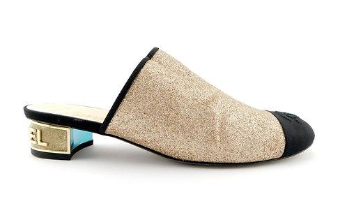 CHANEL Size 7 Gold Glitter CC Cap Toe Mule Heels Shoes 37 Eur