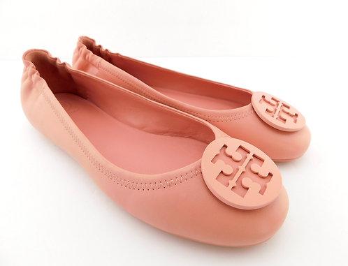 TORY BURCH Blush Pink Logo Ballet Flats