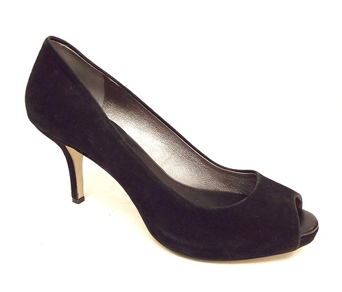 BANANA REPUBLIC Black Suede Peep Toe Pump 10