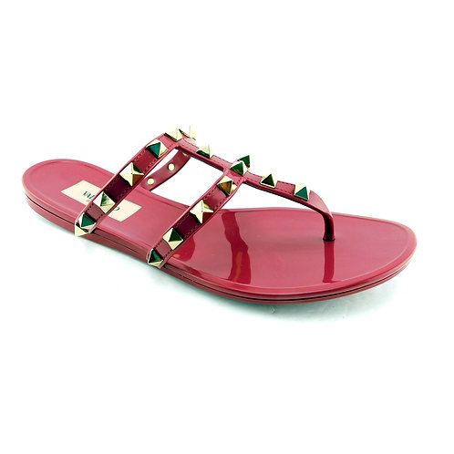 VALENTINO Size 6 Fuchsia ROCKSTUD Jelly Sandals Shoes 36 Eur