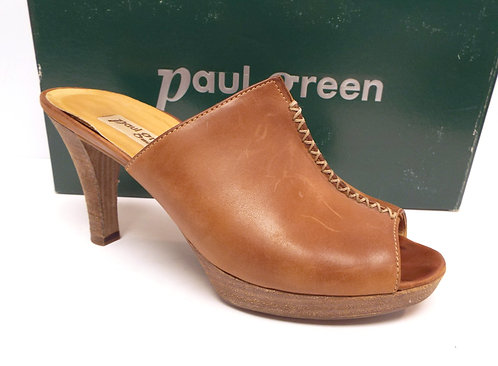 PAUL GREEN Brown Open Toe Mule Slide Heel 8