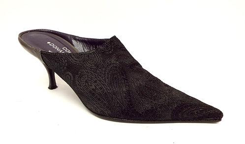 DONALD PLINER REA Black Brocade Mule Heel 7