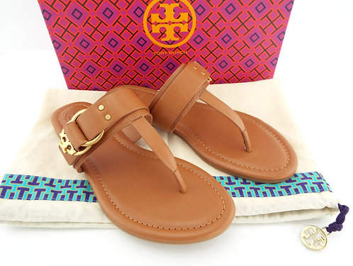 TORY BURCH Logo Royal Tan Flat Thong Sandals 6