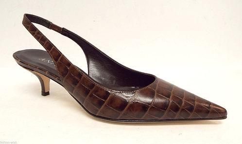 ANNE KLEIN Brown Alligator Print Slingback Heels