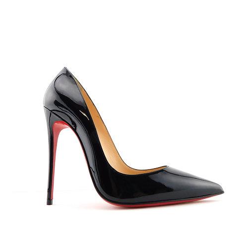 CHRISTIAN LOUBOUTIN Size 7.5 SO KATE Black Patent Heels Pumps Shoes 37.5 Eur