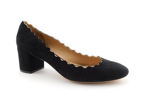 CHLOE Lauren Black Scalloped Suede Block Heel Pumps 35