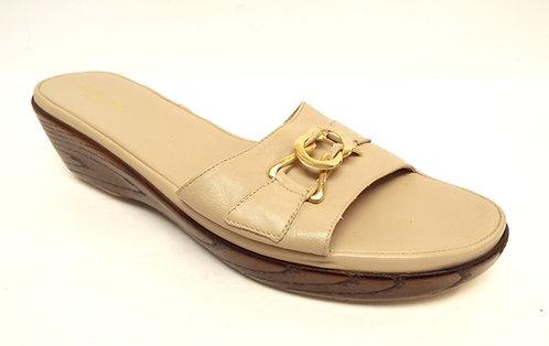 RANGONI Beige Leather Slide Sandals