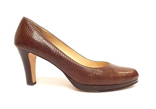 COLE HAAN Size 8 Brown Lizard Print Almond Toe Pumps Heels
