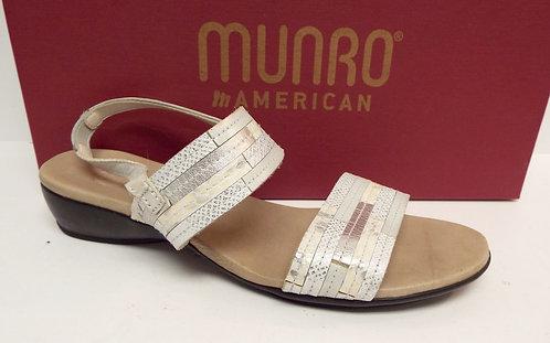 MUNRO TANGIER White & Ivory Ankle Strap Sandal 8.5