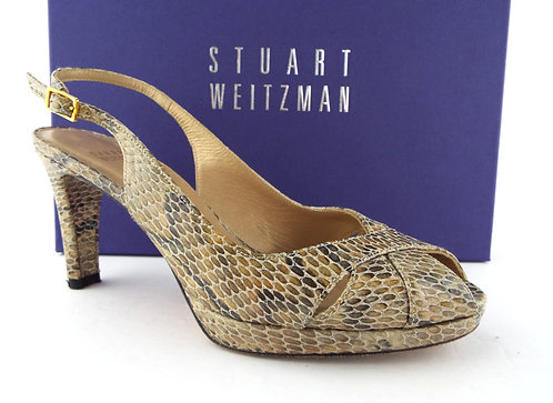 STUART WEITZMAN Beige Crystal Snake Slingback Heels 7.5