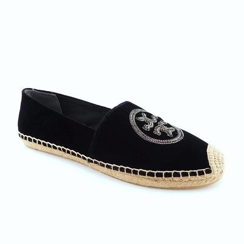 TORY BURCH Size 11 Black Velvet Chain Logo Espadrilles Flats Shoes