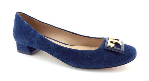 Tory Burch Royal Blue Logo Block Heel Pumps 8