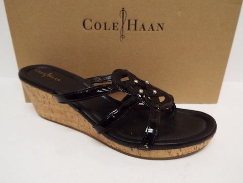 COLE HAAN Black Patent Cork Wedge Slide Sandal 9.5