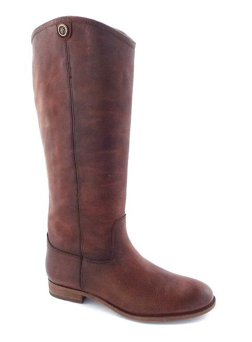 Frye Cognac Leather Logo Button Boots 10