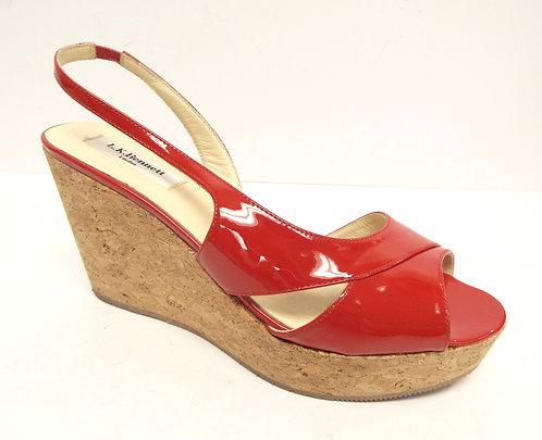 L.K. BENNETT Red Patent Wedge Sandal 39/ 8.5