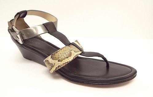 COACH VELVET Ankle Strap Snake Print Sandal 9.5