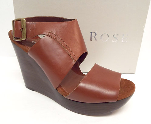 TARYN ROSE Brown Leather Ankle Strap Wedge Sandal 8