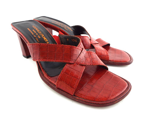 DONALD PLINER Red Alligator Print Slide Sandals 7