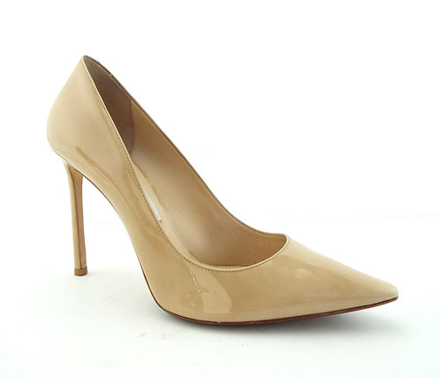 JIMMY CHOO Beige Nude Patent Classic Heel Pumps 40