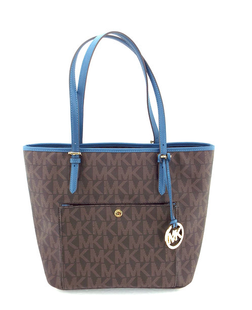 MICHAEL KORS Brown & Blue Signature Tote Shopper Bag