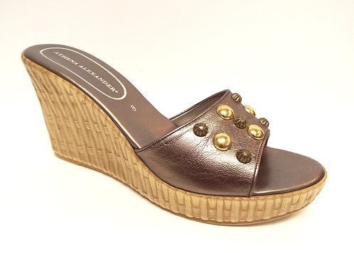 ATHENA ALEXANDER Metallic Wedge Slide Sandal